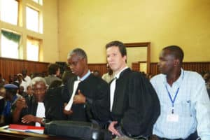 Mr Alexis Deswaef, ILN member, during the Olucome trial in Burundi © Jean-Marie Ndikumana/ASF