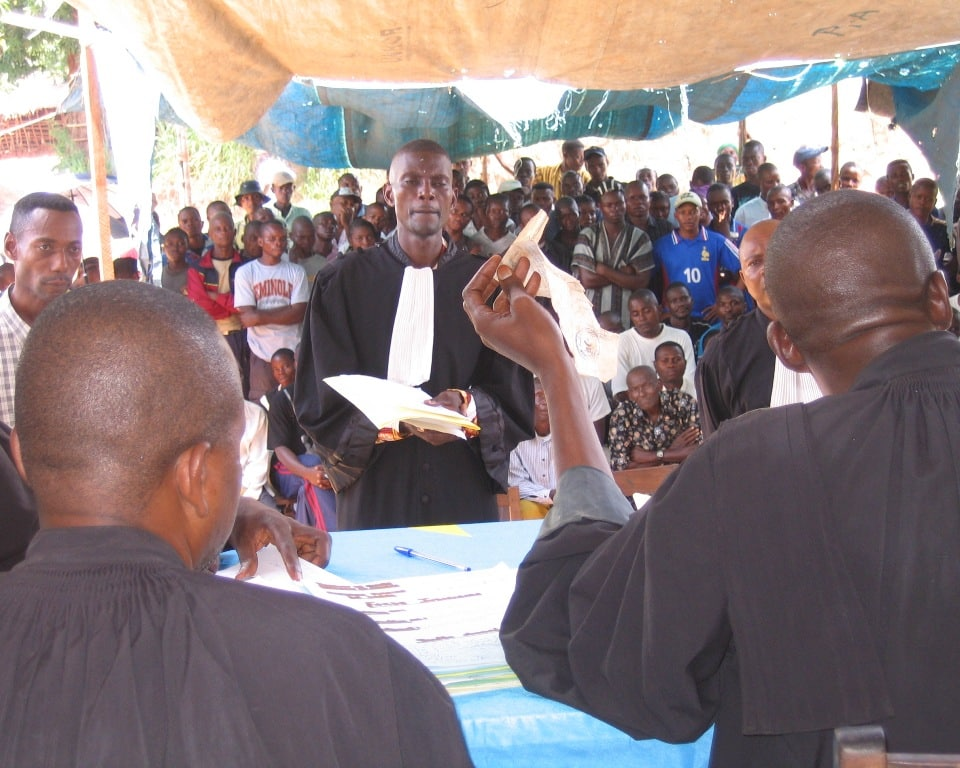 A lawyer appealing before the judges